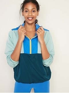 Go-H20 Water-Resistant Color-Blocked Anorak for Women