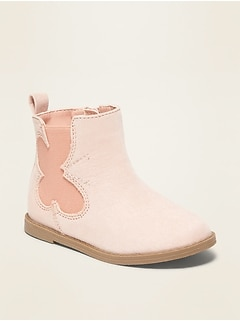 Faux-Suede Butterfly-Cut-Out Chelsea Boots for Toddler Girls
