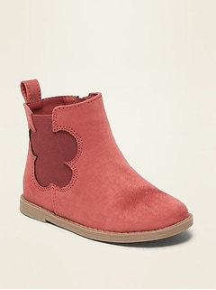 Faux-Suede Flower-Cut-Out Chelsea Boots for Toddler Girls