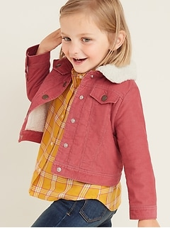 Sherpa-Lined Corduroy Trucker Jacket for Toddler Girls