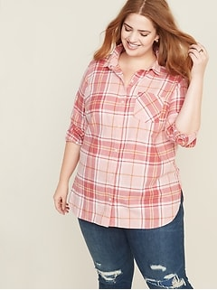 Plaid Twill No-Peek Plus-Size Tunic Shirt