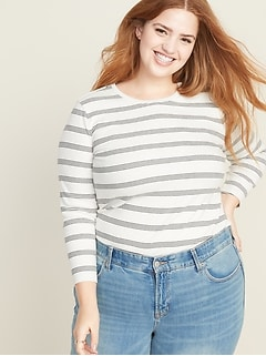 Slim-Fit Striped Rib-Knit Plus-Size Tee