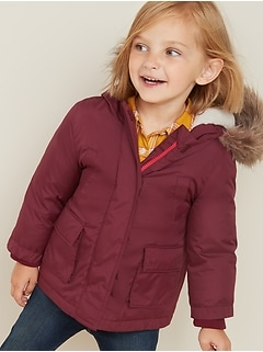 Hooded Faux-Fur Trim Snow Jacket for Toddler Girls