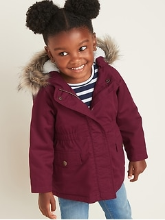 Hooded Faux-Fur Trim Twill Parka for Toddler Girls
