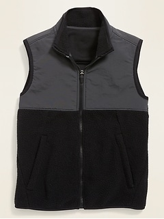 Color-Blocked Nylon/Sherpa Vest for Boys