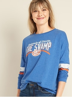 College-Team Graphic Sleeve-Stripe Tee for Women