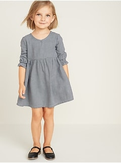 Houndstooth-Patterned Twill V-Neck Dress for Toddler Girls
