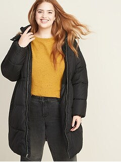 Frost-Free Hooded Plus-Size Long-Line Puffer Jacket