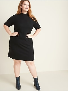 Plus-Size Mock-Neck Rib-Knit Tee Dress