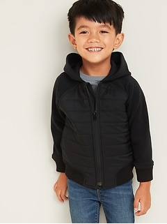 Quilted-Chest Micro Performance Fleece Hooded Jacket for Toddler Boys