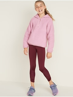 Relaxed Half-Zip Sherpa Hoodie for Girls