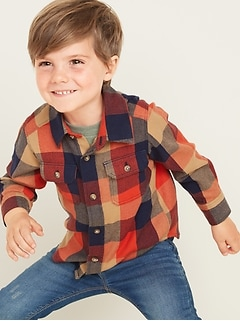 Buffalo-Plaid Flannel Utility Shirt for Toddler Boys