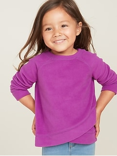 Micro Performance Fleece Surplice-Hem Top for Toddler Girls