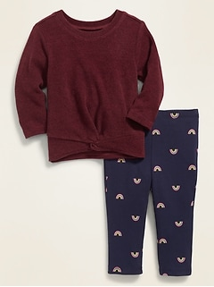 Plush-Knit Twist-Front Top & Printed Leggings Set for Baby