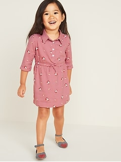 Printed Cinched-Waist Shirt Dress for Toddler Girls