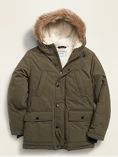 Hooded Faux-Fur Trim Parka for Boys