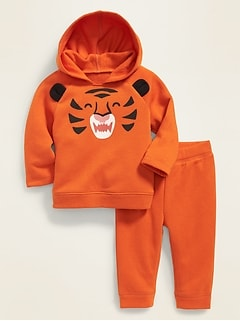 Critter-Graphic Pullover Hoodie & Jogger Set for Baby