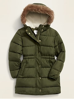 Hooded Frost-Free Long-Line Jacket for Girls
