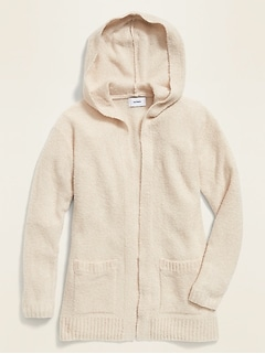 Relaxed Open-Front Bouclé Hoodie for Girls