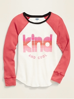Graphic Thermal-Knit Raglan-Sleeve Tee for Girls
