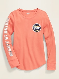 Graphic Thermal-Knit Long-Sleeve Tee for Girls