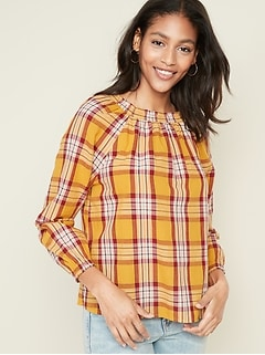 Plaid Square-Neck Gauze Top for Women