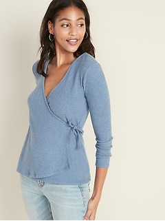 Wrap-Front Rib-Knit Top for Women