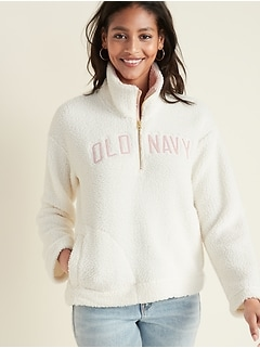 Logo-Graphic 1/2-Zip Sherpa Pullover for Women