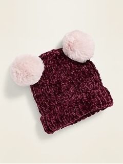Chenille Double Pom-Pom Beanie for Baby