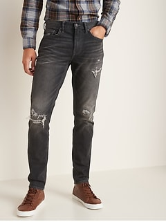 Slim Distressed Built-In Flex Black Jeans for Men