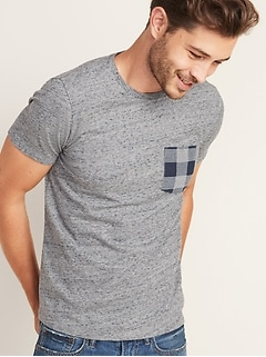 Soft-Washed Plaid-Pocket Tee for Men