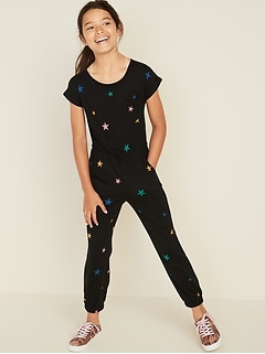 Jersey-Knit Dolman-Sleeve Jumpsuit for Girls