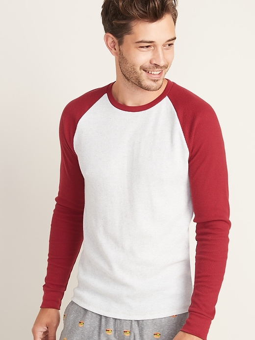Old Navy Mens Soft-Washed Thermal-Knit Baseball Tee