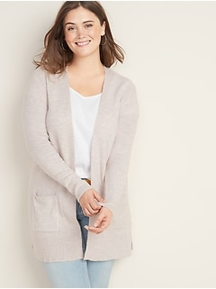 Soft-Brushed Long-Line Open-Front Plus-Size Sweater