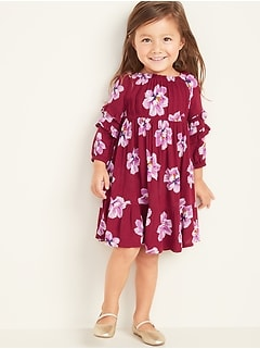 Floral Ruffle-Tiered Crepe Dress for Toddler Girls