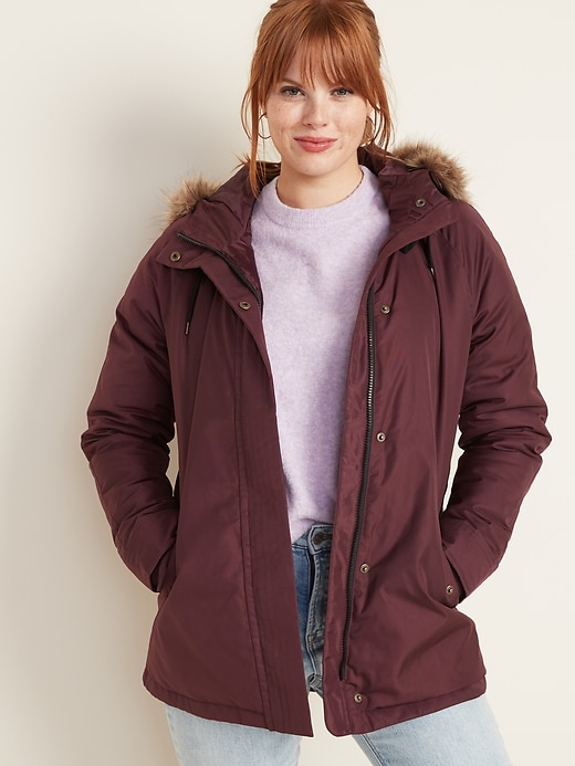 Hooded Faux-Fur Trim Parka for Women