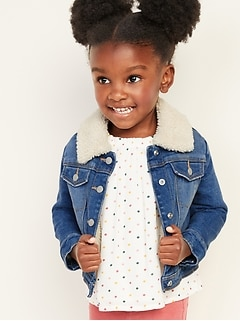 Sherpa-Lined Jean Jacket For Toddler Girls