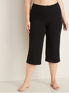 High-Waisted Cropped Wide-Leg Plus-Size Yoga Pants