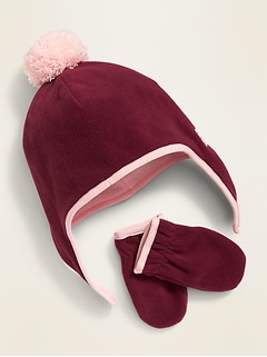 Performance Fleece Pom-Pom Hat and Mittens Set for Toddler Girls