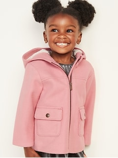 Soft-Brushed Hooded Coat for Toddler Girls