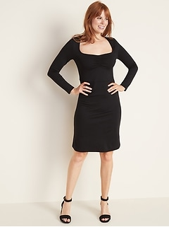 Ponte-Knit Ruched Sheath Dress for Women