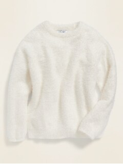 Fuzzy Crew-Neck Sweater for Girls