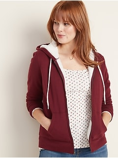 Sherpa-Lined Zip Hoodie for Women