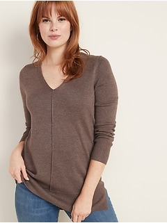 V- Neck Tunic Sweater for Women