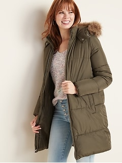 Hooded Frost-Free Long-Line Puffer Jacket for Women