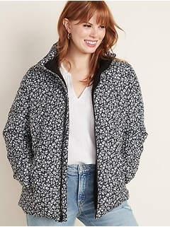 Frost-Free Patterned Puffer Jacket for Women