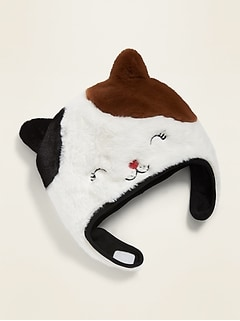 Faux-Fur Cat Trapper Hat for Toddler Girls