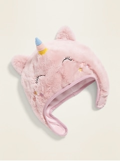 Faux-Fur Unicorn Trapper Hat for Toddler Girls