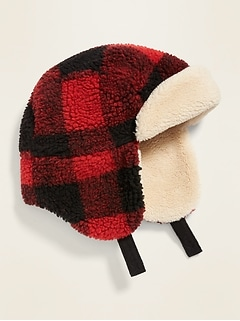 Plaid Sherpa Trapper Hat for Toddler Boys