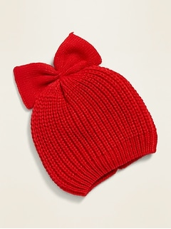 Sweater-Knit Bow-Tie Beanie for Baby